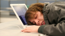 sleeping at computer