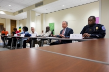 Senator Tim Kaine and local law officials