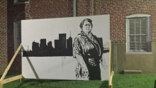 Mural of Maggie Walker, created by Sir James L. Thornhill